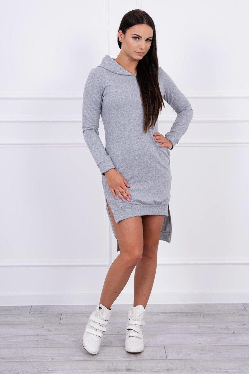 bd7bc5e8d8 Sportowa szara sukienka z wycięciami po bokach L XL - ShopTime